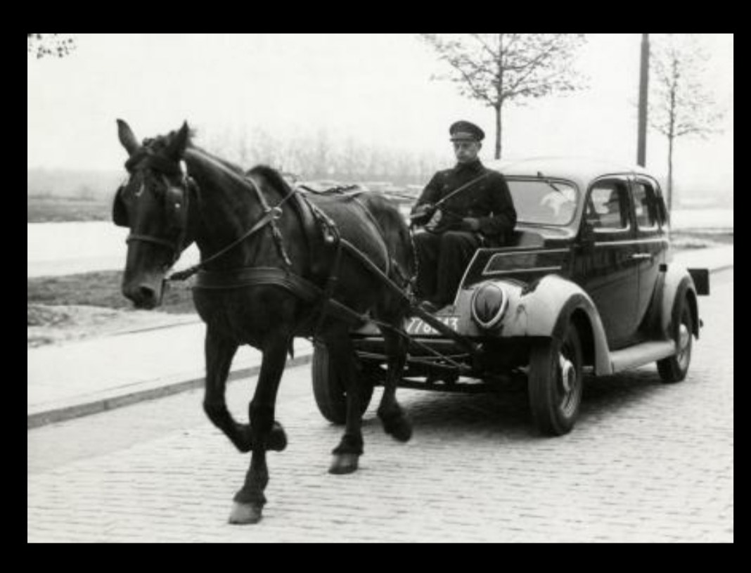 New Technology in old methods - Horse pulling car