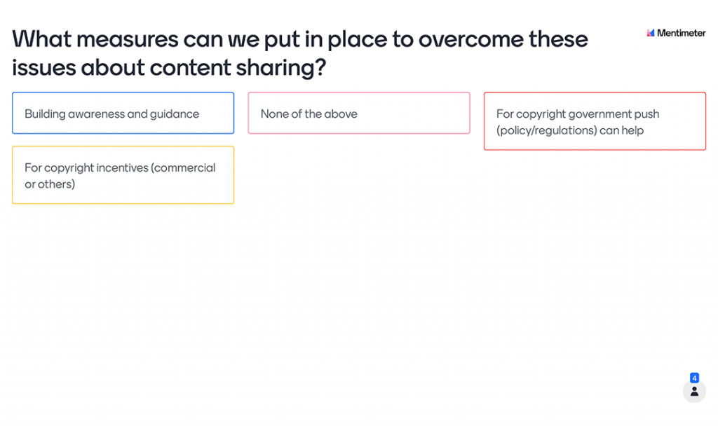 Mentimeter Poll - What measures can we put in place to overcome these issues about content sharing?