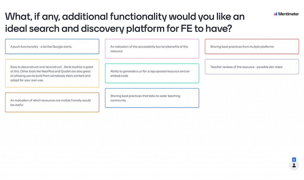 Mentimeter Poll - What, if any, additional functionality would you like an ideal search and discovery platform for FE to have?