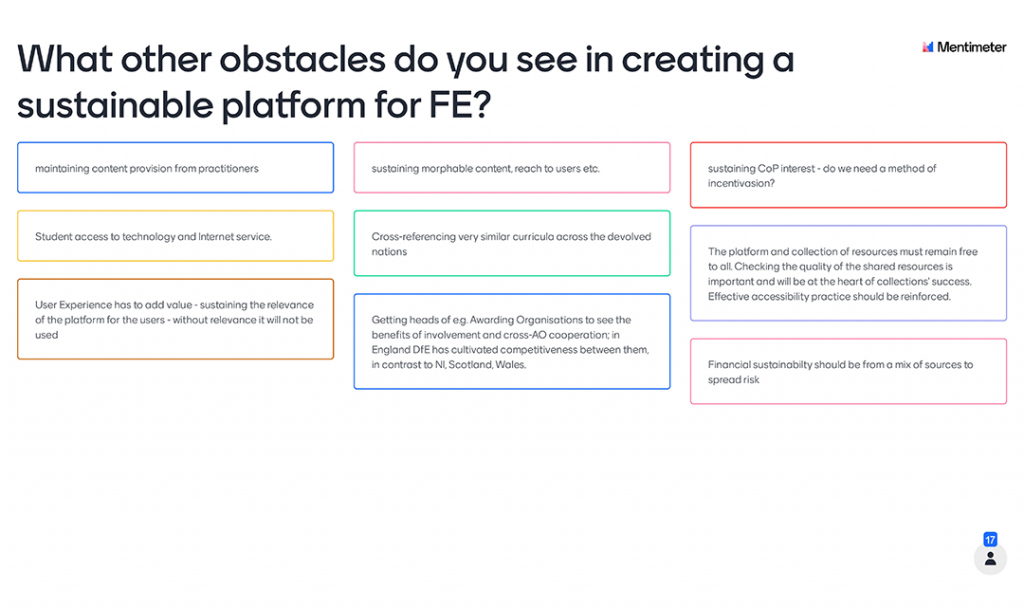 Mentimeter Poll - What other obstacles do you see in creating a sustainable platform for FE?